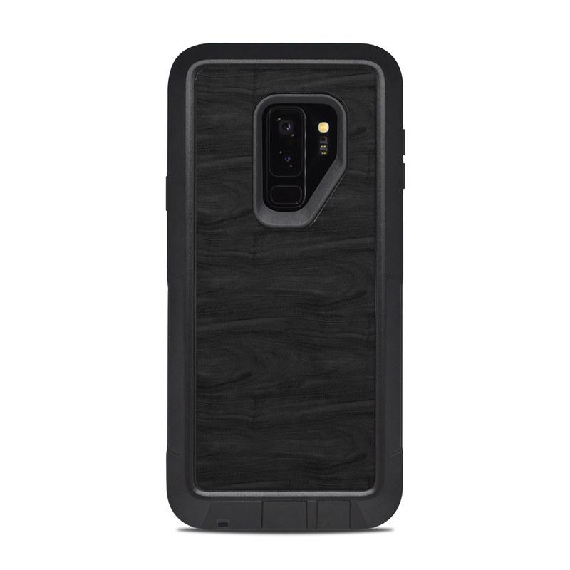 OtterBox Pursuit Galaxy S9 Plus Case Skin design of Black, Brown, Wood, Grey, Flooring, Floor, Laminate flooring, Wood flooring with black colors