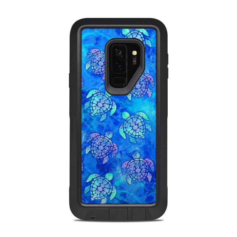 OtterBox Pursuit Galaxy S9 Plus Case Skin design of Blue, Pattern, Organism, Design, Sea turtle, Plant, Electric blue, Hydrangea, Flower, Symmetry with blue, green, purple colors