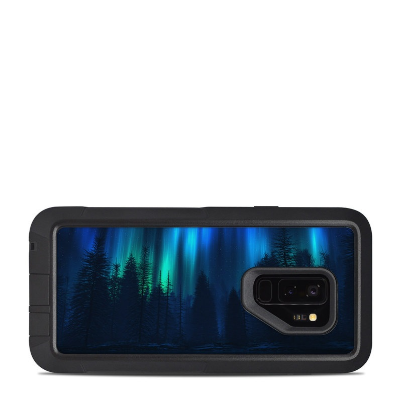 OtterBox Pursuit Galaxy S9 Plus Case Skin design of Blue, Light, Natural environment, Tree, Sky, Forest, Darkness, Aurora, Night, Electric blue with black, blue colors