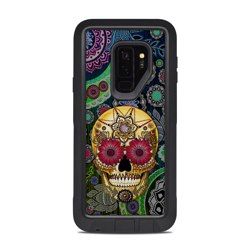 OtterBox Pursuit Galaxy S9 Plus Case Skin design of Skull, Bone, Pattern, Psychedelic art, Visual arts, Design, Illustration, Art, Textile, Plant with black, red, gray, green, blue colors