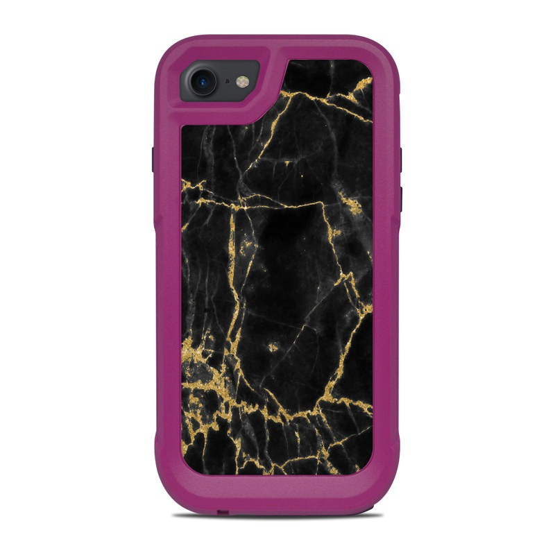 OtterBox Pursuit iPhone 8 Case Skin design of Black, Yellow, Water, Brown, Branch, Leaf, Rock, Tree, Marble, Sky with black, yellow colors