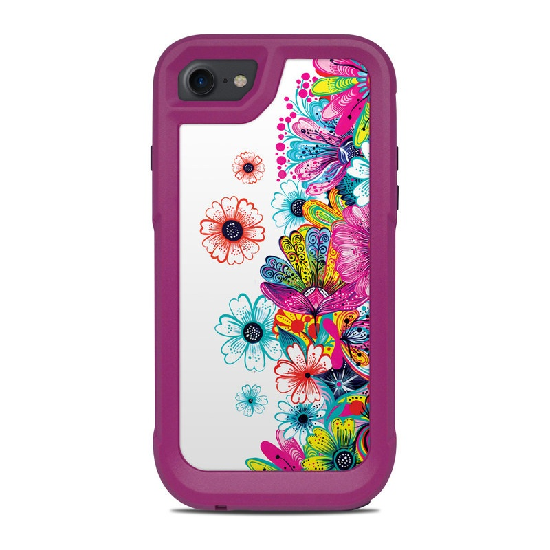 OtterBox Pursuit iPhone 8 Case Skin design of Pattern, Floral design, Design, Graphic design, Flower, Wildflower, Plant, Graphics, Clip art, Visual arts with white, pink, blue, yellow, purple, red colors