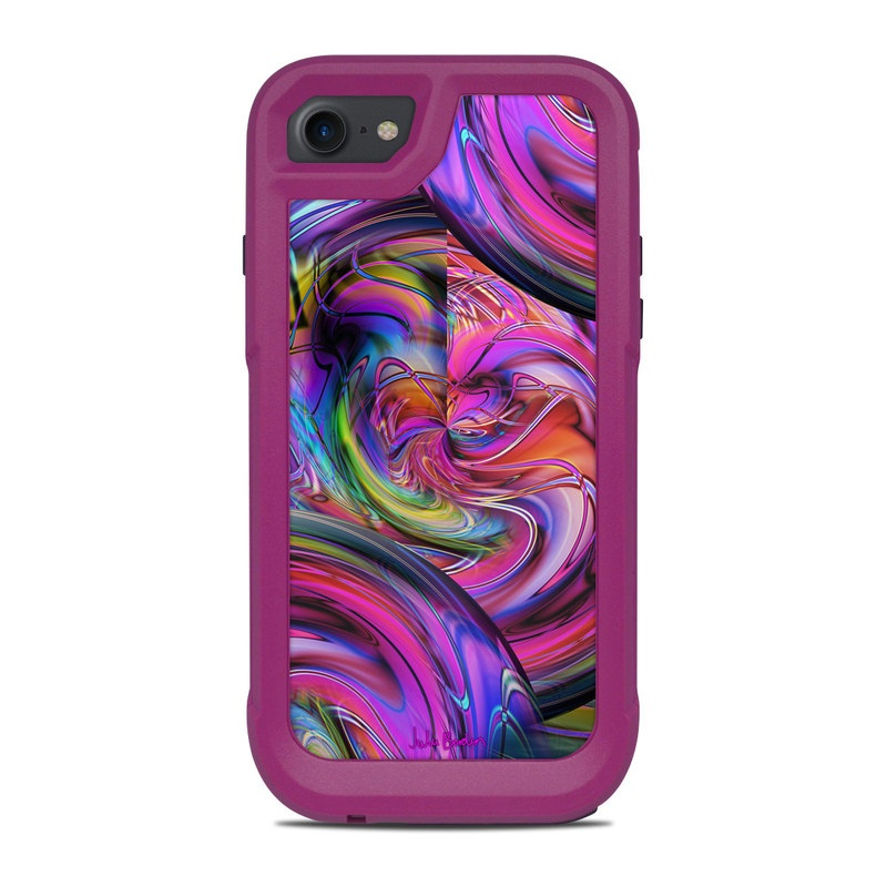 OtterBox Pursuit iPhone 8 Case Skin design of Pattern, Psychedelic art, Purple, Art, Fractal art, Design, Graphic design, Colorfulness, Textile, Visual arts with purple, black, red, gray, blue, green colors