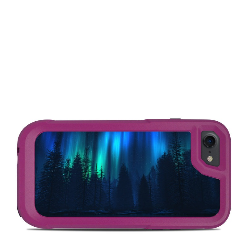OtterBox Pursuit iPhone 8 Case Skin design of Blue, Light, Natural environment, Tree, Sky, Forest, Darkness, Aurora, Night, Electric blue with black, blue colors