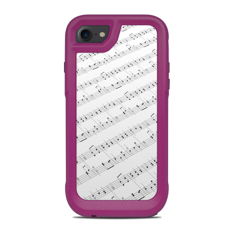 OtterBox Pursuit iPhone 8 Case Skin design of Sheet music, Music, Text, Monochrome, Line, Font, Parallel, Classical music with white, gray colors