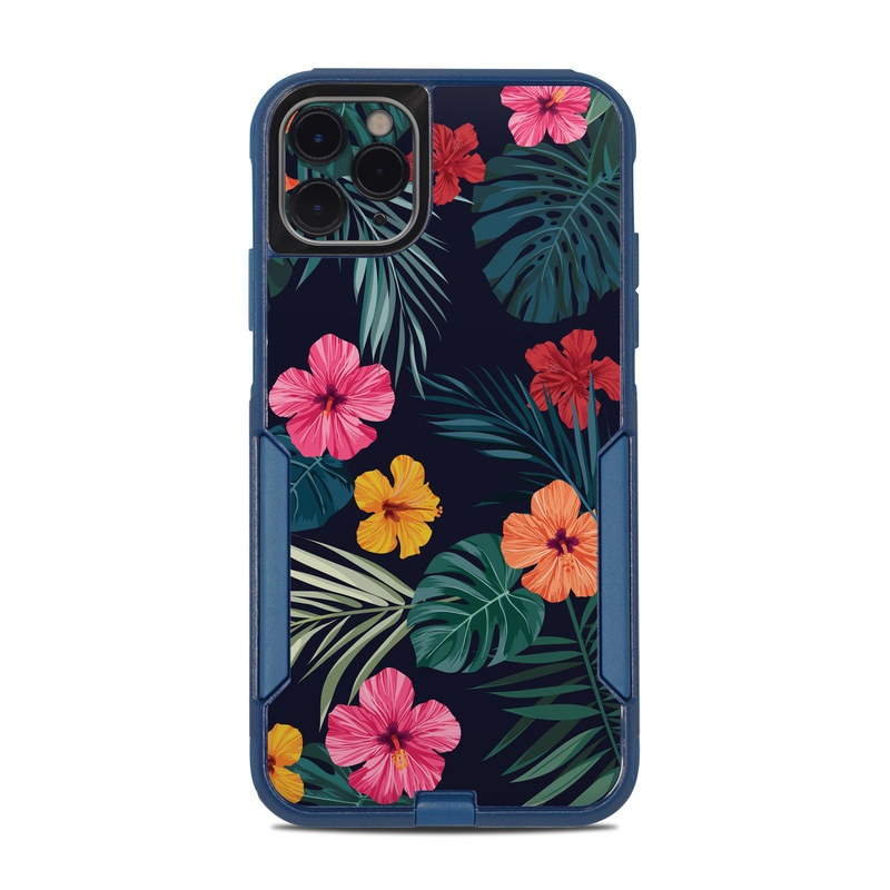 OtterBox Commuter iPhone 11 Pro Max Case Skin design of Hawaiian hibiscus, Flower, Pattern, Plant, Leaf, Floral design, Botany, Design, Hibiscus, Petal with black, green, red, pink, orange, yellow, white colors