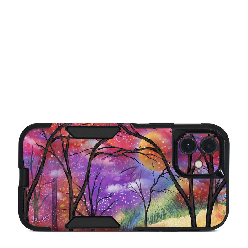 OtterBox Commuter iPhone 12 Case Skin design of Nature, Tree, Natural landscape, Painting, Watercolor paint, Branch, Acrylic paint, Purple, Modern art, Leaf with red, purple, black, gray, green, blue colors