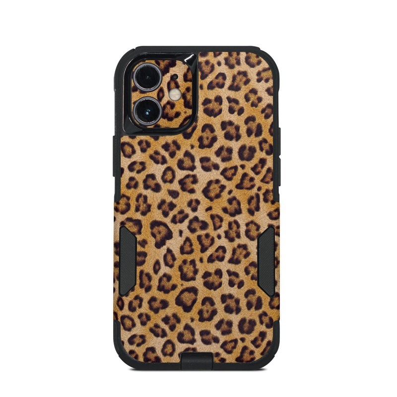 OtterBox Commuter iPhone 12 mini Case Skin design of Pattern, Felidae, Fur, Brown, Design, Terrestrial animal, Close-up, Big cats, African leopard, Organism with orange, black colors