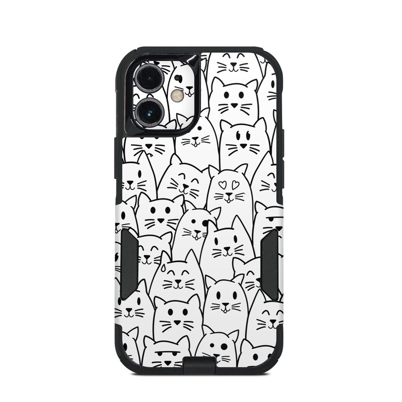 OtterBox Commuter iPhone 12 mini Case Skin design of White, Line art, Text, Black, Pattern, Black-and-white, Line, Design, Font, Organism with white, black colors