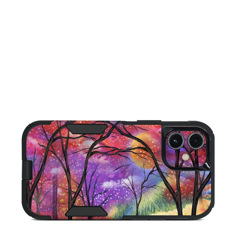 OtterBox Commuter iPhone 12 mini Case Skin design of Nature, Tree, Natural landscape, Painting, Watercolor paint, Branch, Acrylic paint, Purple, Modern art, Leaf with red, purple, black, gray, green, blue colors