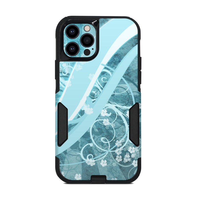 OtterBox Commuter iPhone 12 Pro Case Skin design of Aqua, Blue, Turquoise, Pattern, Teal, Text, Circle, Design, Graphic design, Wallpaper with gray, blue, purple colors