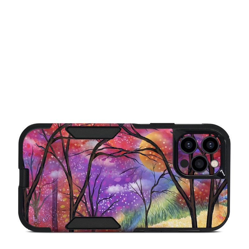 OtterBox Commuter iPhone 12 Pro Case Skin design of Nature, Tree, Natural landscape, Painting, Watercolor paint, Branch, Acrylic paint, Purple, Modern art, Leaf with red, purple, black, gray, green, blue colors