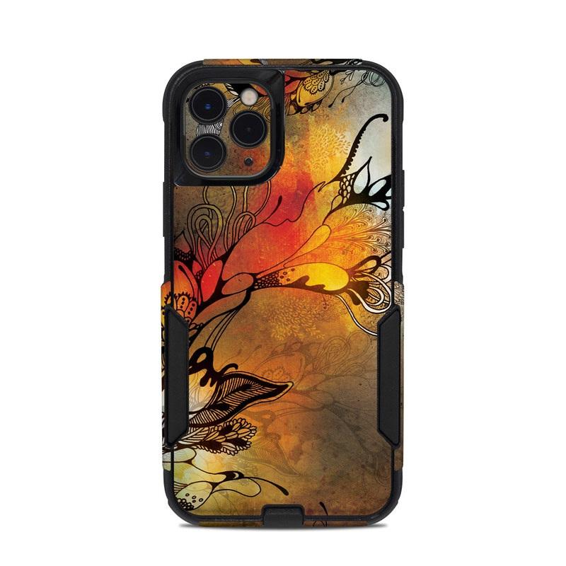 OtterBox Commuter iPhone 11 Pro Case Skin design of Yellow, Orange, Art, Branch, Leaf, Graphic design, Visual arts, Pattern, Design, Modern art with black, red, orange, yellow colors