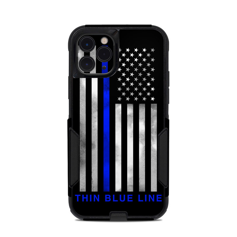 OtterBox Commuter iPhone 11 Pro Case Skin design of Line, Flag, Text, Flag of the united states, Font, Parallel, Symmetry, Black-and-white, Pattern, Graphics with black, white, gray, blue colors