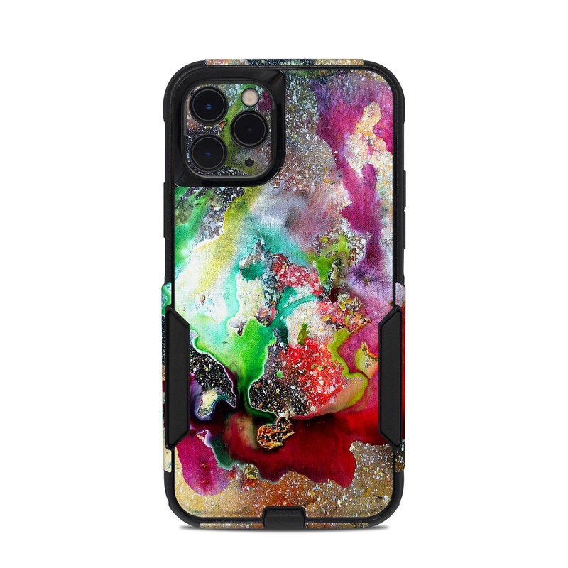 OtterBox Commuter iPhone 11 Pro Case Skin design of Organism, Space, Art, Nebula, Rock with black, gray, red, green, blue, purple colors