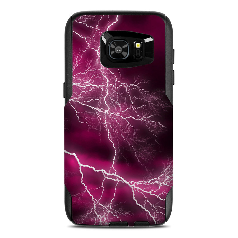 OtterBox Commuter Galaxy S7 Edge Case Skin design of Thunder, Lightning, Thunderstorm, Sky, Nature, Purple, Red, Atmosphere, Violet, Pink with pink, black, white colors