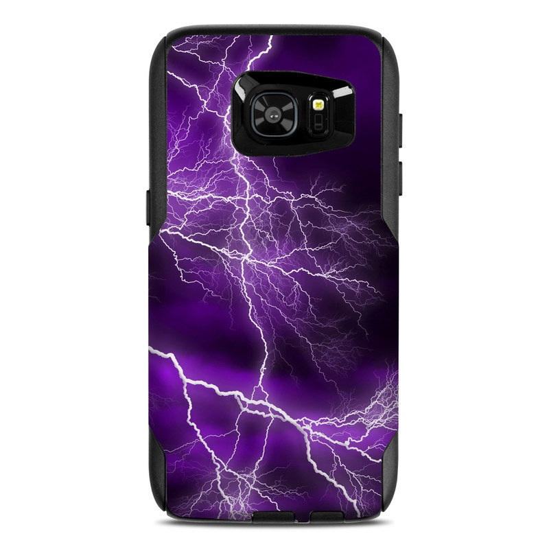 OtterBox Commuter Galaxy S7 Edge Case Skin design of Thunder, Lightning, Thunderstorm, Sky, Nature, Purple, Violet, Atmosphere, Storm, Electric blue with purple, black, white colors
