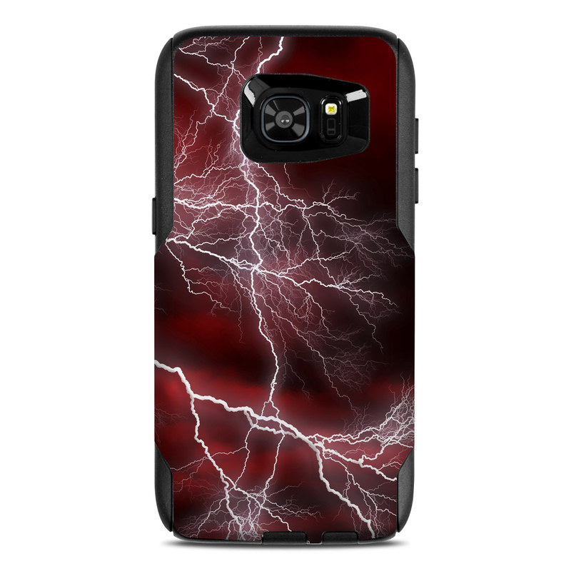 OtterBox Commuter Galaxy S7 Edge Case Skin design of Thunder, Thunderstorm, Lightning, Red, Nature, Sky, Atmosphere, Geological phenomenon, Lighting, Atmospheric phenomenon with red, black, white colors