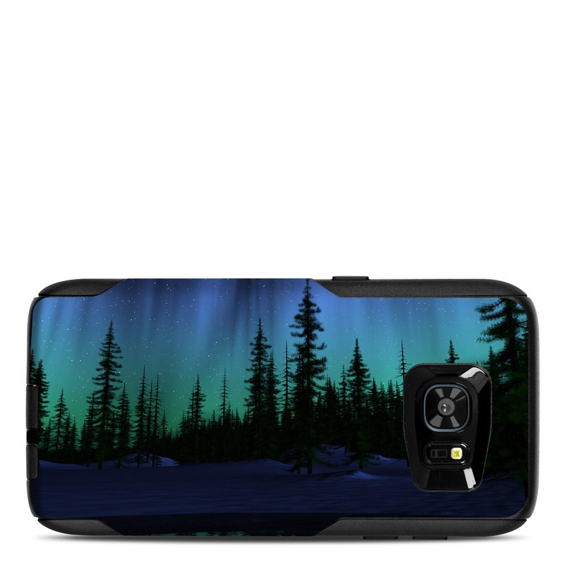 OtterBox Commuter Galaxy S7 Edge Case Skin design of Aurora, Nature, Sky, shortleaf black spruce, Natural landscape, Tree, Wilderness, Natural environment, Biome, Spruce-fir forest with blue, purple, green, black colors