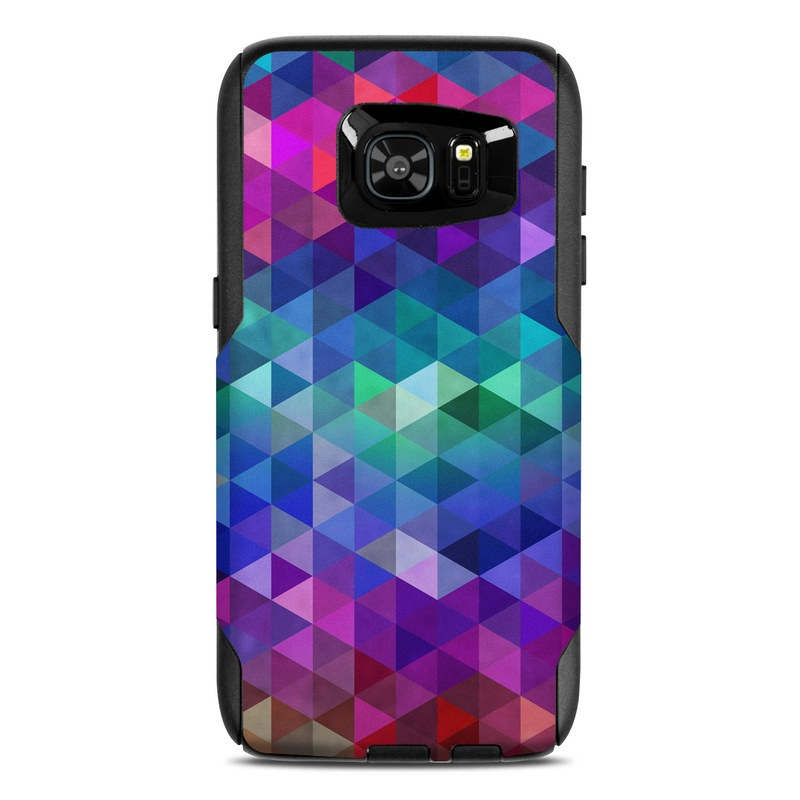 OtterBox Commuter Galaxy S7 Edge Case Skin design of Purple, Violet, Pattern, Blue, Magenta, Triangle, Line, Design, Graphic design, Symmetry with blue, purple, green, red, pink colors
