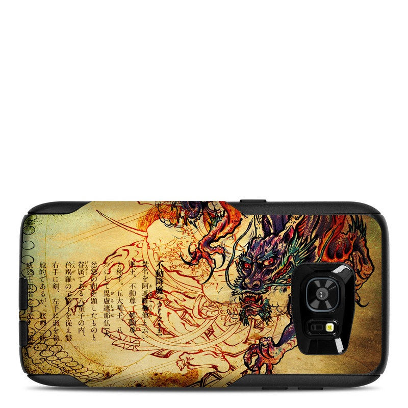 OtterBox Commuter Galaxy S7 Edge Case Skin design of Illustration, Fictional character, Art, Demon, Drawing, Visual arts, Dragon, Supernatural creature, Mythical creature, Mythology with black, green, red, gray, pink, orange colors
