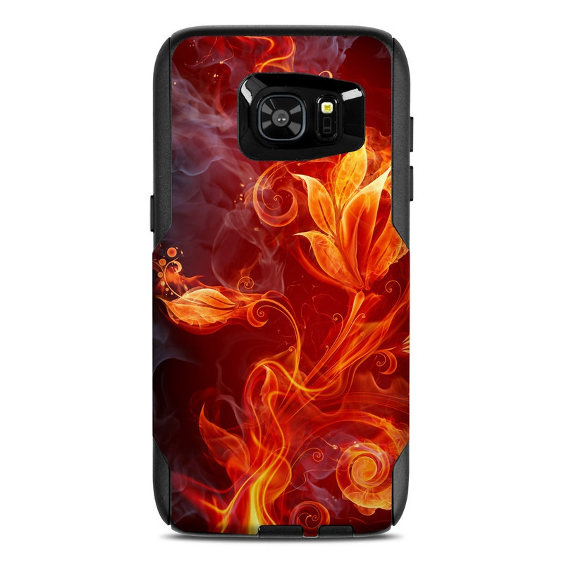 OtterBox Commuter Galaxy S7 Edge Case Skin design of Flame, Fire, Heat, Red, Orange, Fractal art, Graphic design, Geological phenomenon, Design, Organism with black, red, orange colors