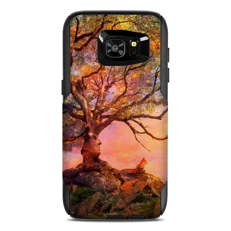 OtterBox Commuter Galaxy S7 Edge Case Skin design of Nature, Tree, Sky, Natural landscape, Branch, Leaf, Woody plant, Trunk, Landscape, Plant with pink, red, black, green, gray, orange colors
