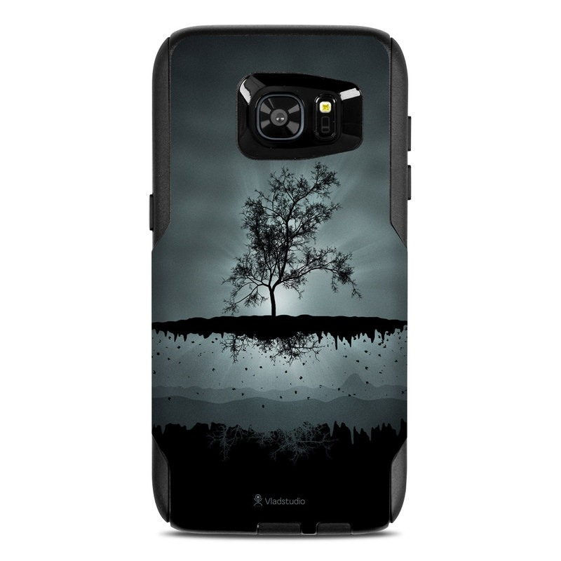 OtterBox Commuter Galaxy S7 Edge Case Skin design of Reflection, Sky, Nature, Water, Black, Tree, Black-and-white, Monochrome photography, Natural landscape, Atmospheric phenomenon with black, gray, blue colors