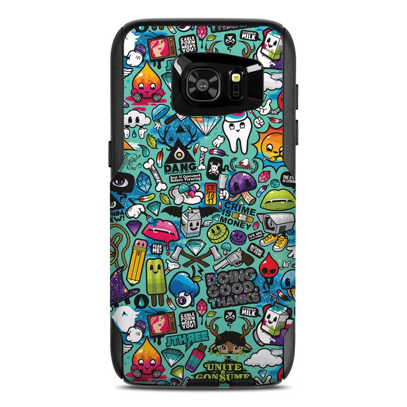OtterBox Commuter Galaxy S7 Edge Case Skin design of Cartoon, Art, Pattern, Design, Illustration, Visual arts, Doodle, Psychedelic art with black, blue, gray, red, green colors