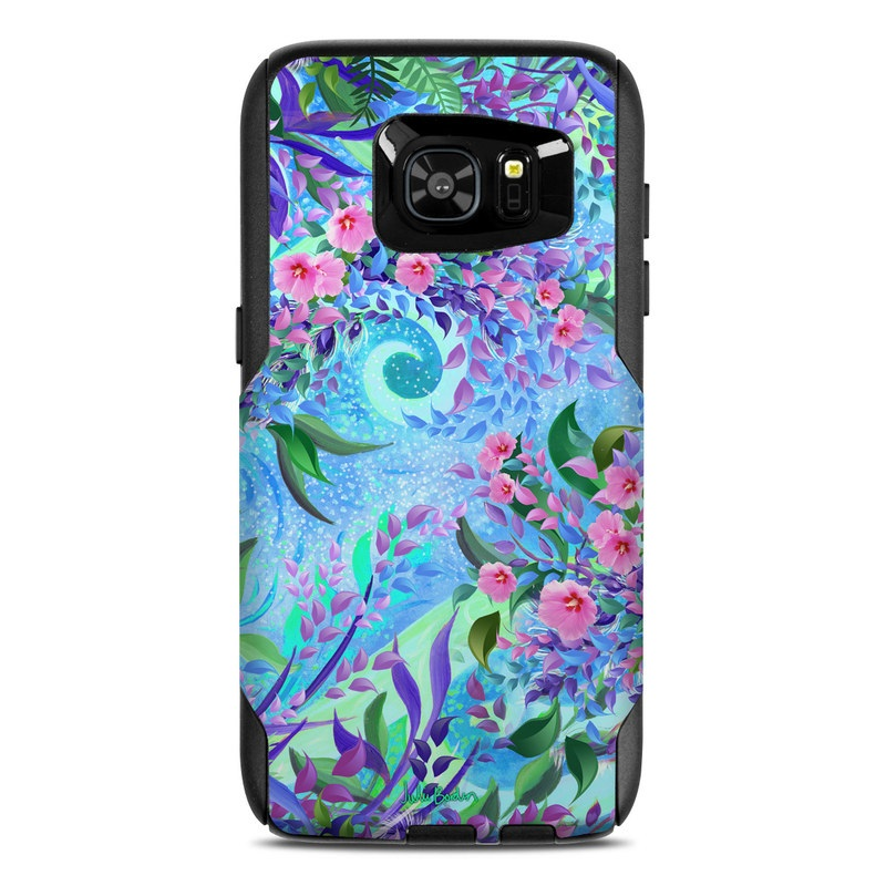 OtterBox Commuter Galaxy S7 Edge Case Skin design of Psychedelic art, Pattern, Lilac, Purple, Art, Pink, Design, Fractal art, Visual arts, Organism with gray, blue, purple colors