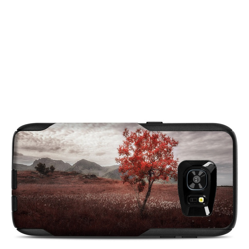 OtterBox Commuter Galaxy S7 Edge Case Skin design of Natural landscape, Nature, Tree, Sky, Red, Natural environment, Atmospheric phenomenon, Leaf, Cloud, Woody plant with black, gray, red colors