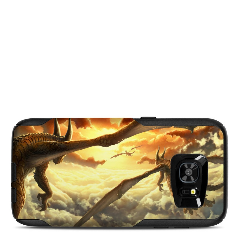 OtterBox Commuter Galaxy S7 Edge Case Skin design of Dragon, Cg artwork, Extinction, Mythology, Fictional character, Sky, Dinosaur, Mythical creature, Geological phenomenon, Landscape with black, green, red, yellow, gray, pink colors