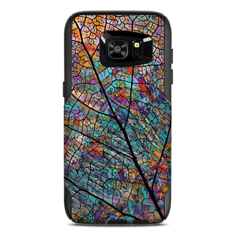 OtterBox Commuter Galaxy S7 Edge Case Skin design of Pattern, Colorfulness, Line, Branch, Tree, Leaf, Design, Visual arts, Glass, Plant with black, gray, red, blue, green colors