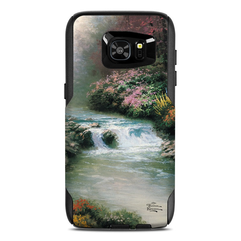 OtterBox Commuter Galaxy S7 Edge Case Skin design of Body of water, Natural landscape, Nature, Stream, Watercourse, River, Water, Water resources, Painting, Mountain river with black, gray, green, red, blue colors