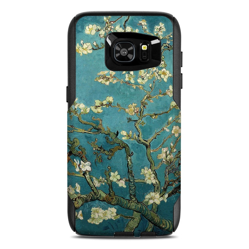 OtterBox Commuter Galaxy S7 Edge Case Skin design of Tree, Branch, Plant, Flower, Blossom, Spring, Woody plant, Perennial plant with blue, black, gray, green colors