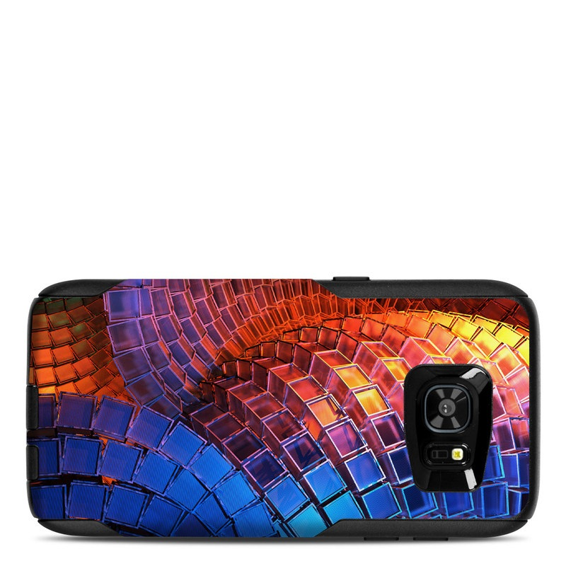 OtterBox Commuter Galaxy S7 Edge Case Skin design of Blue, Red, Orange, Light, Pattern, Architecture, Design, Fractal art, Colorfulness, Psychedelic art with black, red, blue, purple, gray colors