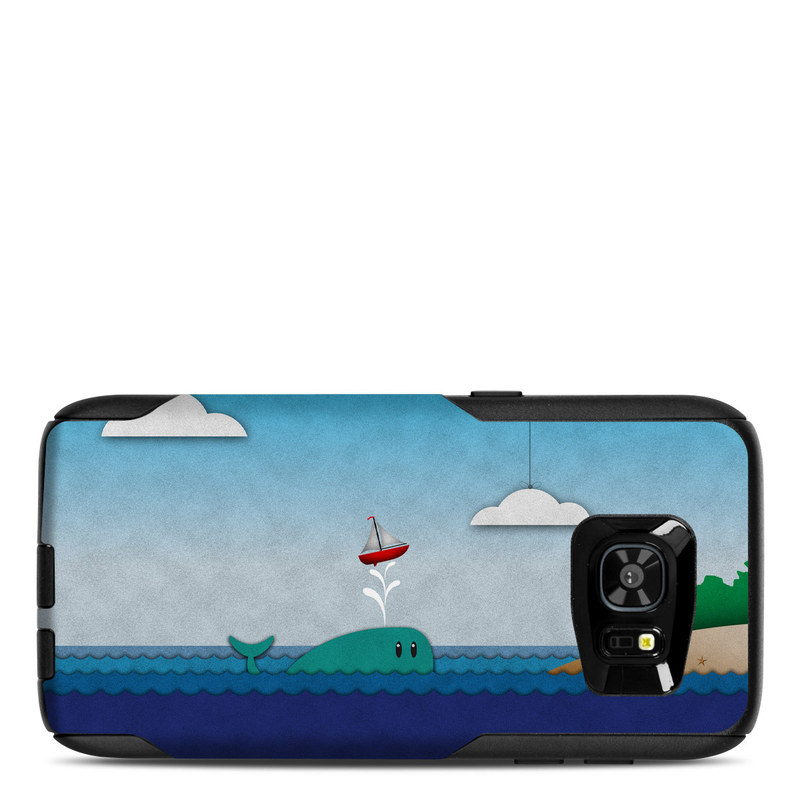 OtterBox Commuter Galaxy S7 Edge Case Skin design of Illustration, Sky, Cloud, Games, Art with gray, blue, black colors