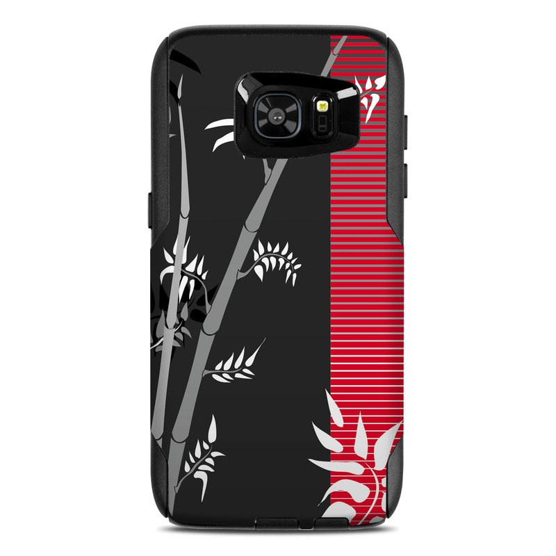OtterBox Commuter Galaxy S7 Edge Case Skin design of Tree, Branch, Plant, Graphic design, Bamboo, Illustration, Plant stem, Black-and-white with black, red, gray, white colors
