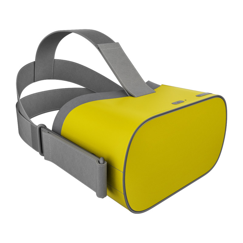 Oculus Go Skin design of Green, Yellow, Orange, Text, Font with yellow colors