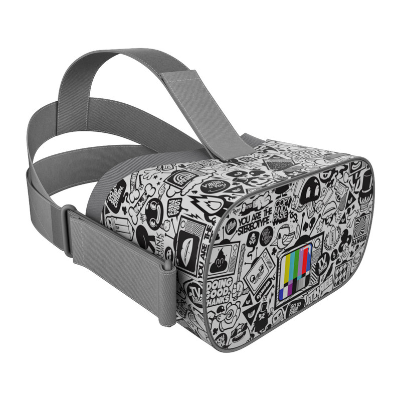 Oculus Go Skin design of Pattern, Drawing, Doodle, Design, Visual arts, Font, Black-and-white, Monochrome, Illustration, Art with gray, black, white colors