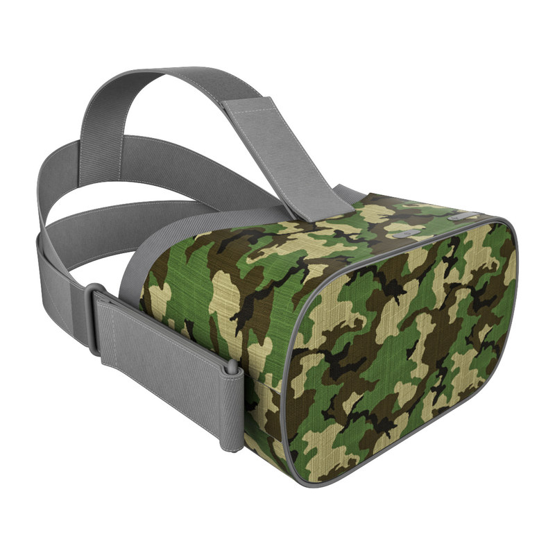 Oculus Go Skin design of Military camouflage, Camouflage, Clothing, Pattern, Green, Uniform, Military uniform, Design, Sportswear, Plane with black, gray, green colors