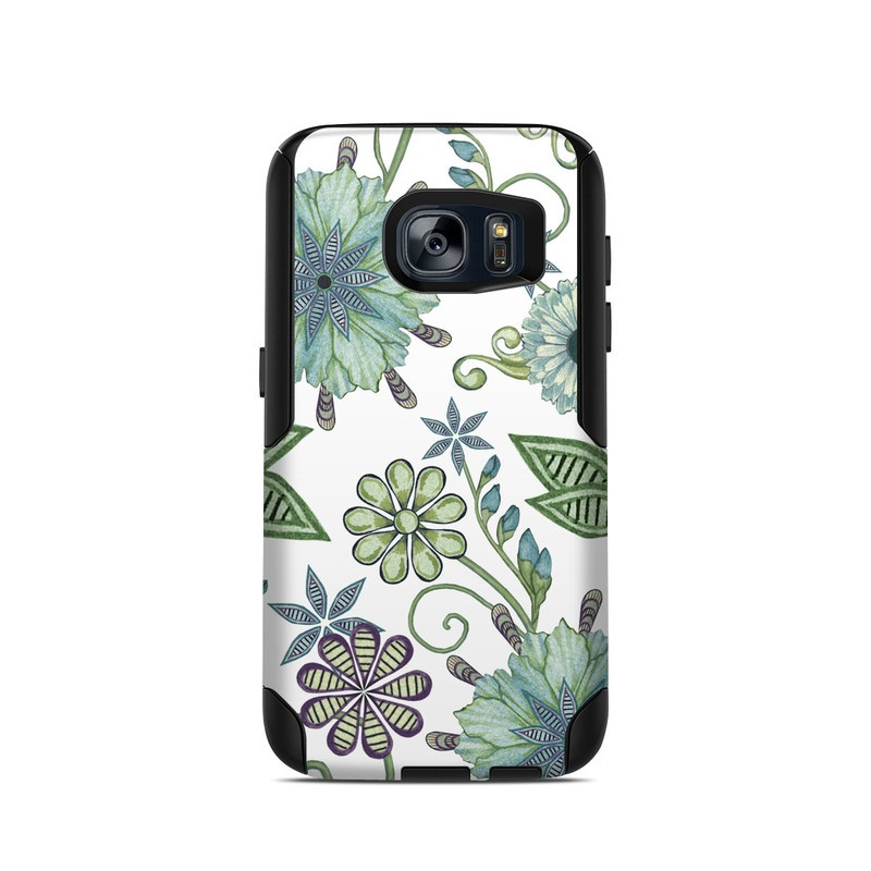 OtterBox Commuter Galaxy S7 Case Skin design of Green, Pattern, Flower, Botany, Plant, Leaf, Design, Wildflower with white, green, blue colors