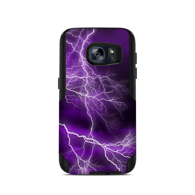OtterBox Commuter Galaxy S7 Case Skin design of Thunder, Lightning, Thunderstorm, Sky, Nature, Purple, Violet, Atmosphere, Storm, Electric blue with purple, black, white colors