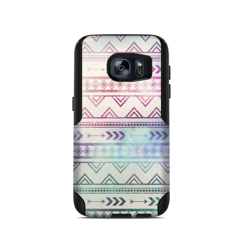 OtterBox Commuter Galaxy S7 Case Skin design of Pattern, Line, Teal, Design, Textile with gray, pink, yellow, blue, black, purple colors