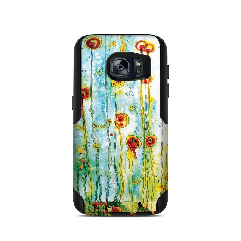 OtterBox Commuter Galaxy S7 Case Skin design of Watercolor paint, Painting, Wildflower, Child art, Botany, Art, Plant, Modern art, Flower, Tree with green, orange, red, blue colors
