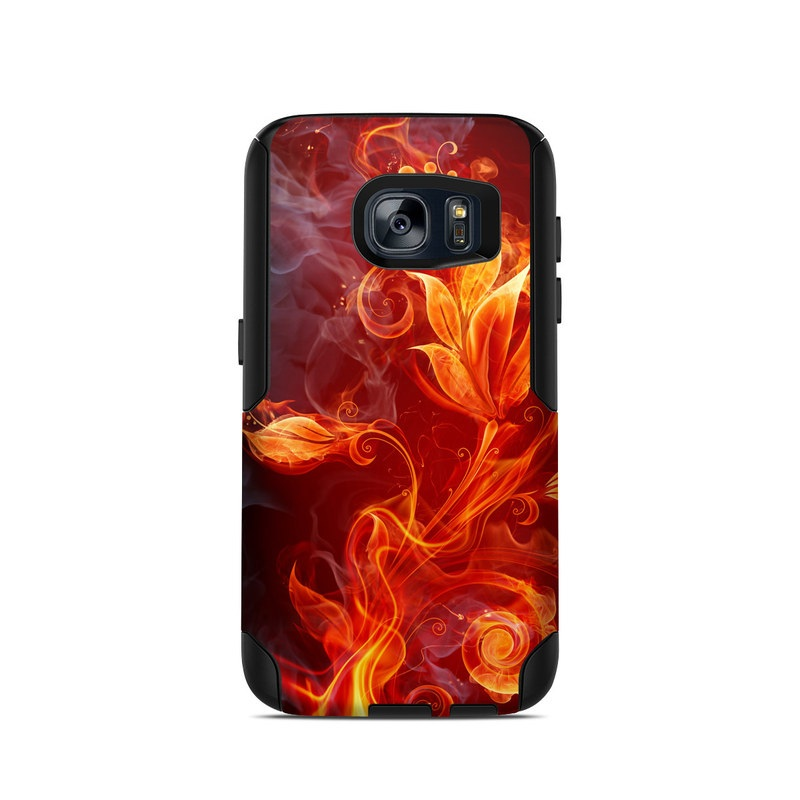OtterBox Commuter Galaxy S7 Case Skin design of Flame, Fire, Heat, Red, Orange, Fractal art, Graphic design, Geological phenomenon, Design, Organism with black, red, orange colors