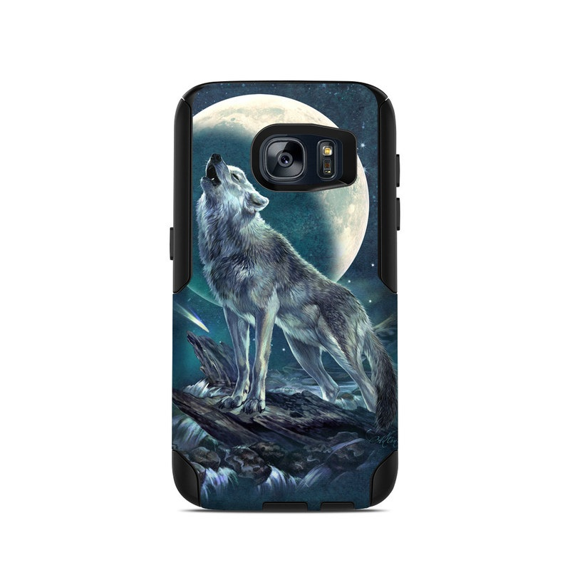 OtterBox Commuter Galaxy S7 Case Skin design of Wolf, Red wolf, Canidae, Coyote, Moon, Canis, canis lupus tundrarum, Wildlife, Carnivore, Celestial event with black, gray, blue, yellow, pink colors