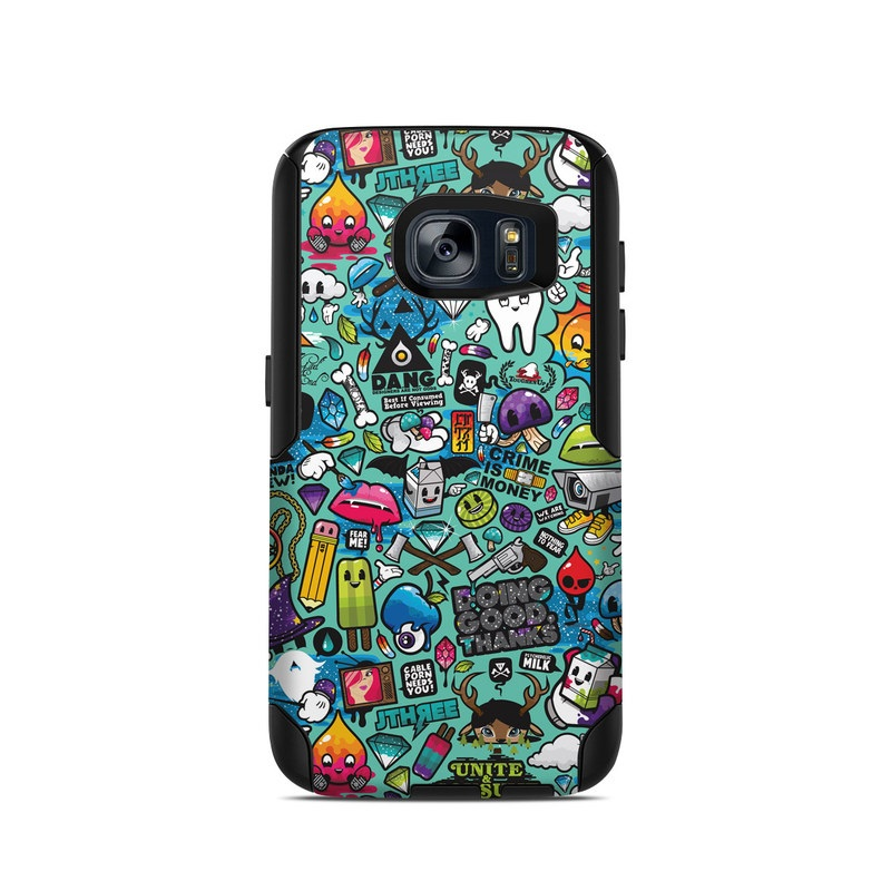 OtterBox Commuter Galaxy S7 Case Skin design of Cartoon, Art, Pattern, Design, Illustration, Visual arts, Doodle, Psychedelic art with black, blue, gray, red, green colors