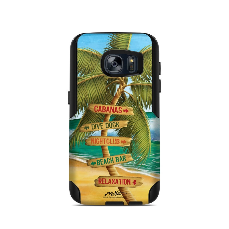 OtterBox Commuter Galaxy S7 Case Skin design of Palm tree, Arecales, Tropics, Tree, Caribbean, Wave, Water, Coconut, Ocean, Elaeis with green, purple, gray, black, blue colors