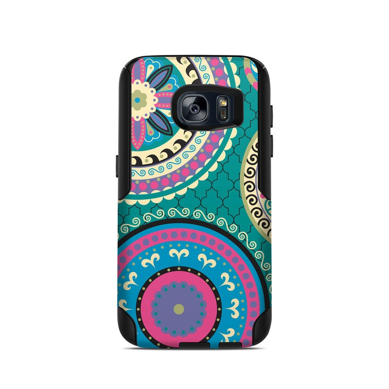 OtterBox Commuter Galaxy S7 Case Skin design of Pattern, Turquoise, Teal, Circle, Visual arts, Design, Textile, Motif, Psychedelic art, Paisley with blue, gray, black, purple, pink colors